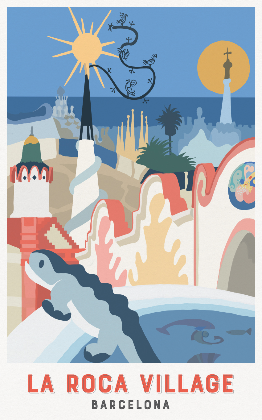 LA ROCA VILLAGE TRAVEL POSTER - VALUE RETAIL - THE TRAVEL POSTERS