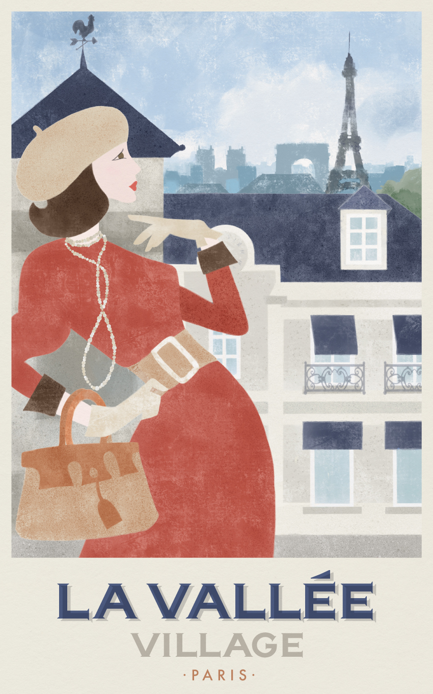 LA VALLEE VILLAGE TRAVEL POSTER - VALUE RETAIL - THE TRAVEL POSTERS